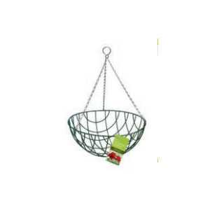 Traditional Wire Hanging Basket 12inch Green 01015