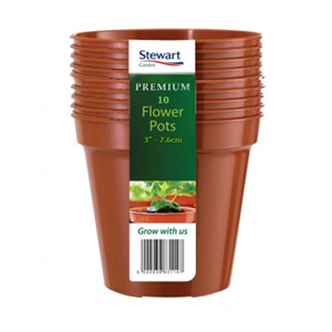 Premium Pack of 10 Flower Pots 3in - 7.6cm - Stewart Garden