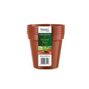 Premium Pack of 5 Flower Pots 4in - 10cm - Stewart Garden