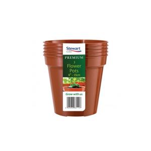 Premium Pack of 3 Flower Pots 6in - 15cm - Stewart Garden