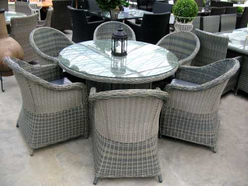 Poly Rattan Garden Set (Glass Top Table and 6 Chairs)