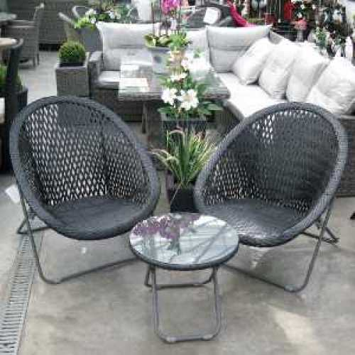The Old Basket Supply (TOBS) Black Folding Faux Rattan Chair and Table Set - 24535