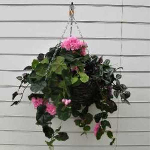 Trailing Pink Geranium With Variegated Foliage Artificial Hanging Basket
