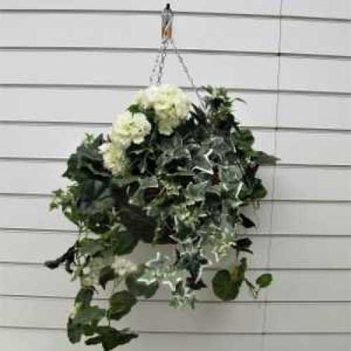 Trailing White Geranium With Variegated Hedera Artificial Hanging Basket