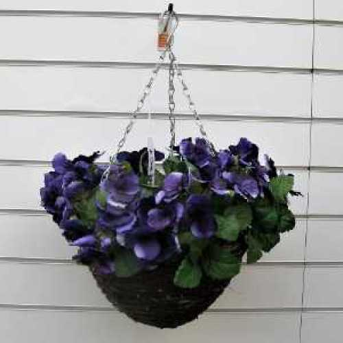 Artificial Purple Pansy Hanging Basket