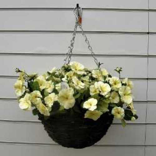 Artificial Cream/White Pansy Hanging Basket