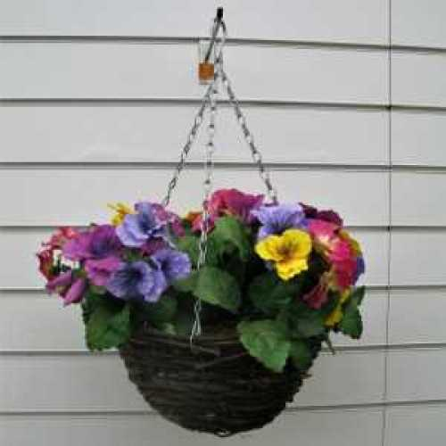 Artificial Pansy Mixed Colours Hanging Basket