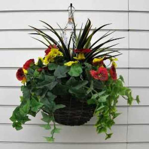 Artificial Red/Yellow Mixed Pansy Hanging Baskets