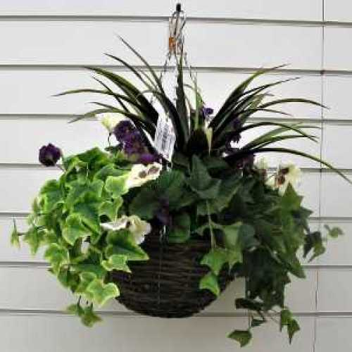 Artificial Pansy Basket Purple/White Mixed