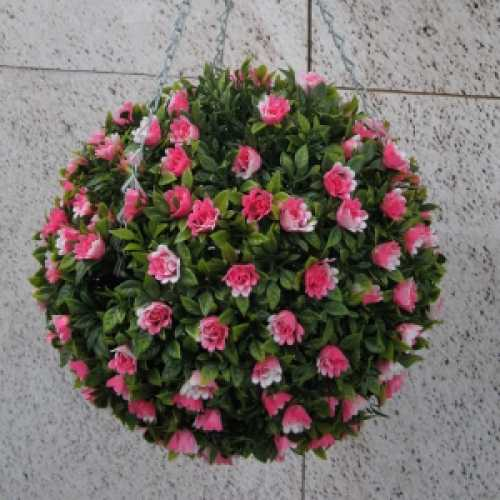 Artificial Pink Rose Hanging Topiary Ball 30cm