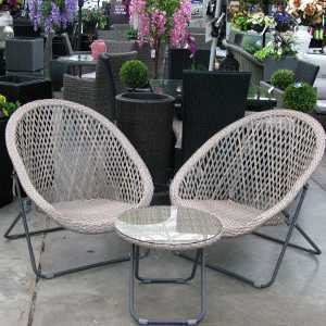 The Old Basket Supply (TOBS) Grey/Beige Folding Faux Rattan Chair and Table Set - 23936