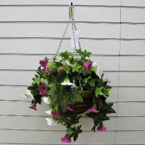 Artificial Trailing Petunia Hanging Basket