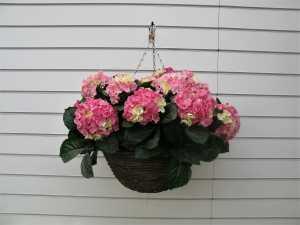 Large Artificial Pink Hydrangea Hanging Basket
