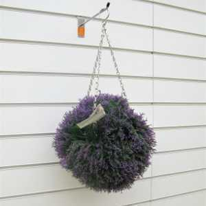 Artificial Pink Heather Effect Hanging Topiary Ball