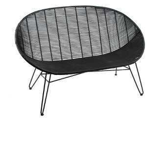 Flat Rattan Cone Bench in Black